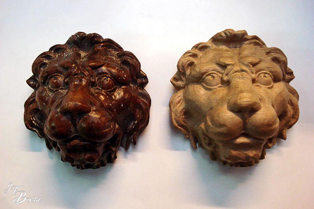 Reproduction à l'identique d'une tête de lion