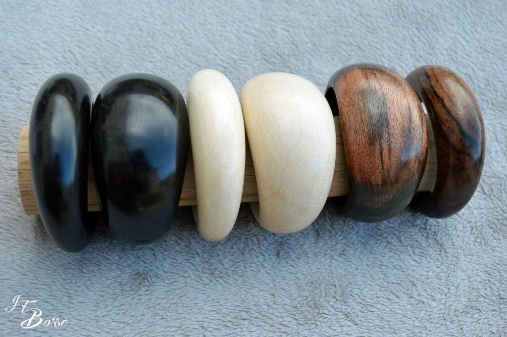 Bracelets ovales en ébène/charme/macassar
