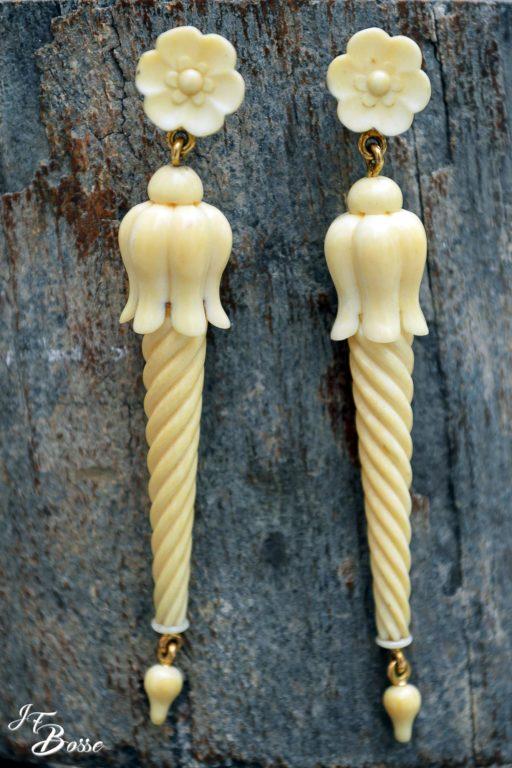 Boucles d'oreilles en résine imitation ivoire